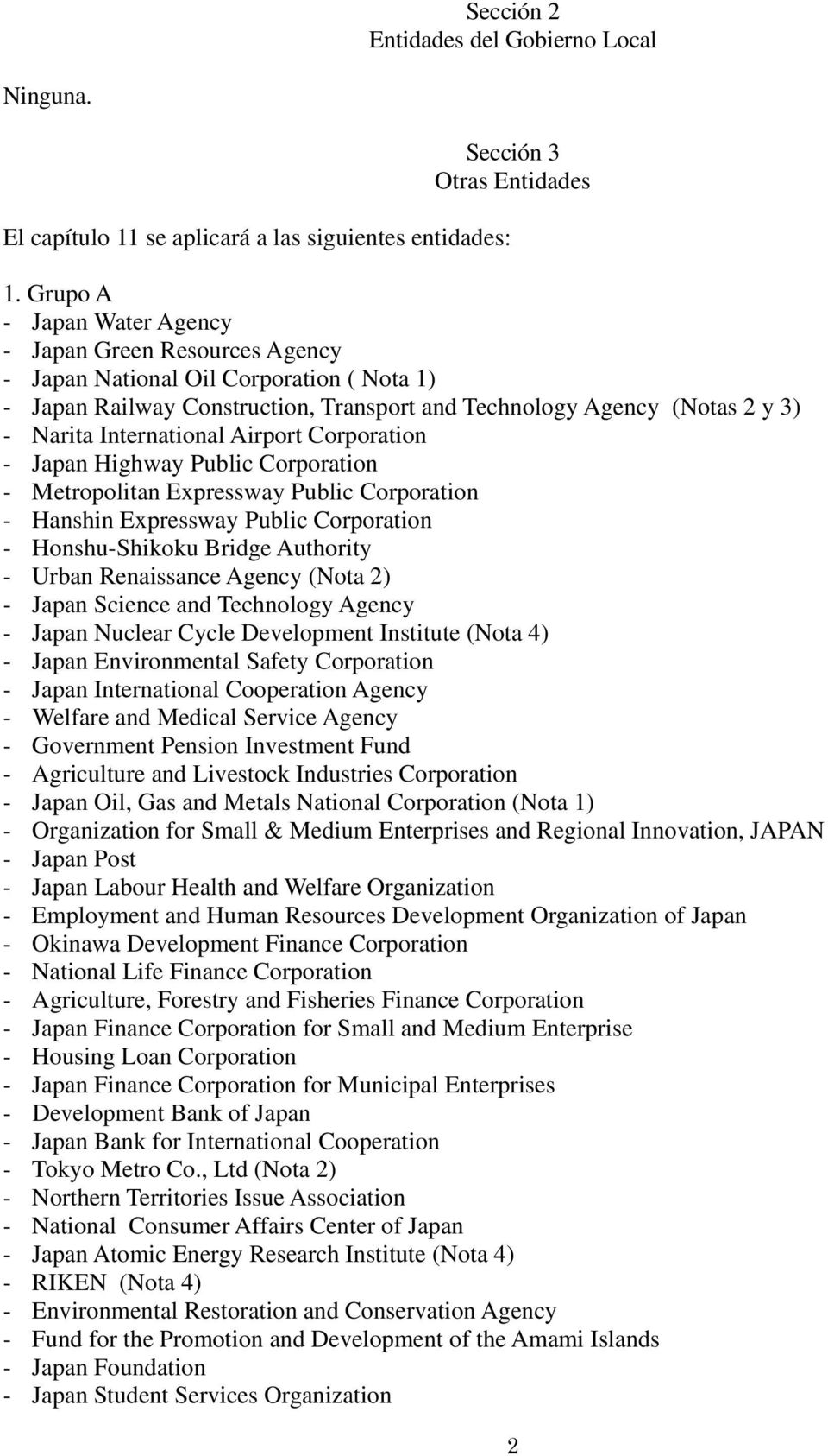 International Airport Corporation - Japan Highway Public Corporation - Metropolitan Expressway Public Corporation - Hanshin Expressway Public Corporation - Honshu-Shikoku Bridge Authority - Urban