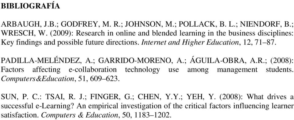 PADILLA-MELÉNDEZ, A.; GARRIDO-MORENO, A.; ÁGUILA-OBRA, A.R.; (2008): Factors affecting e-collaboration technology use among management students.