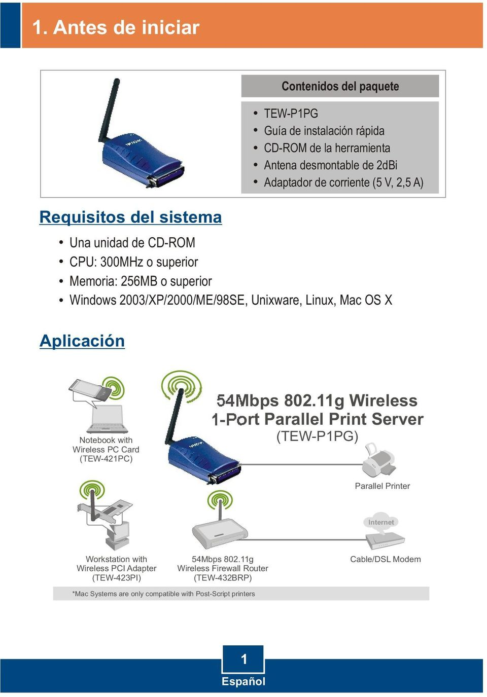Aplicación Notebook with Wireless PC Card (TEW-421PC) 54Mbps 802.