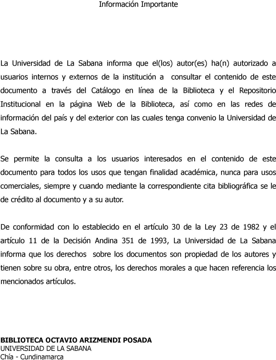 Universidad de La Sabana.