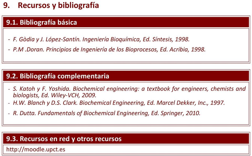 Biochemical engineering: a textbook for engineers, chemists and biologists, Ed. Wiley VCH, 2009. H.W. Blanch y D.S. Clark.