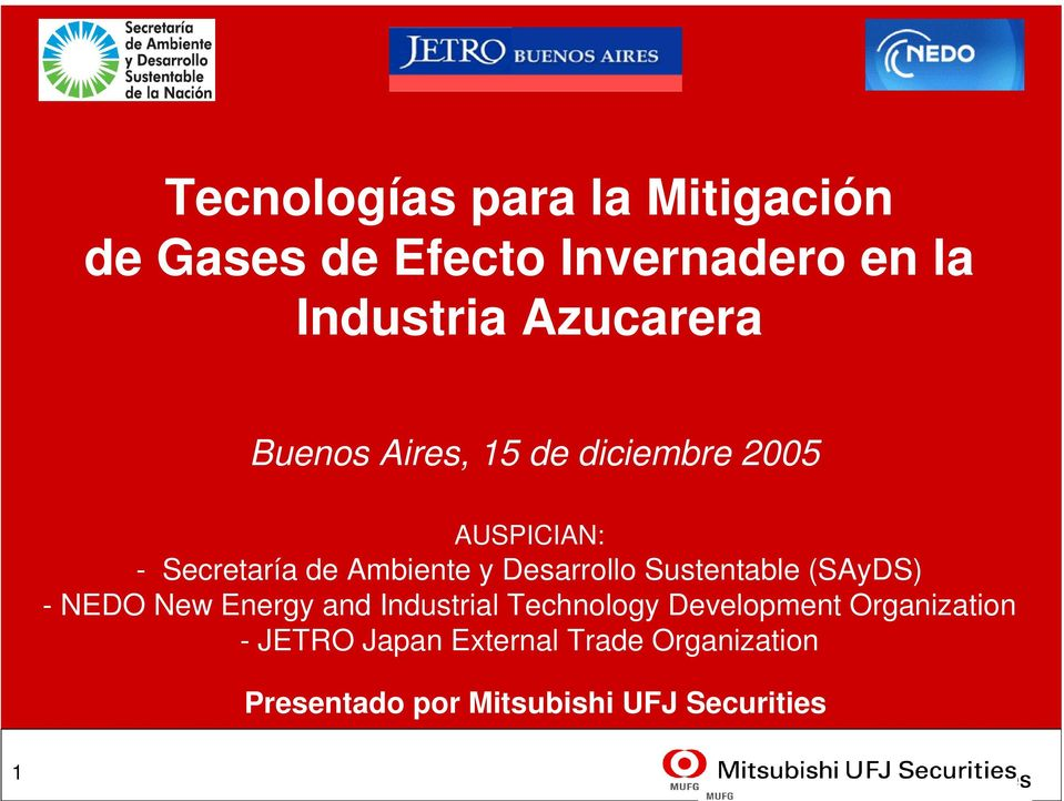 Desarrollo Sustentable (SAyDS) - NEDO New Energy and Industrial Technology Development