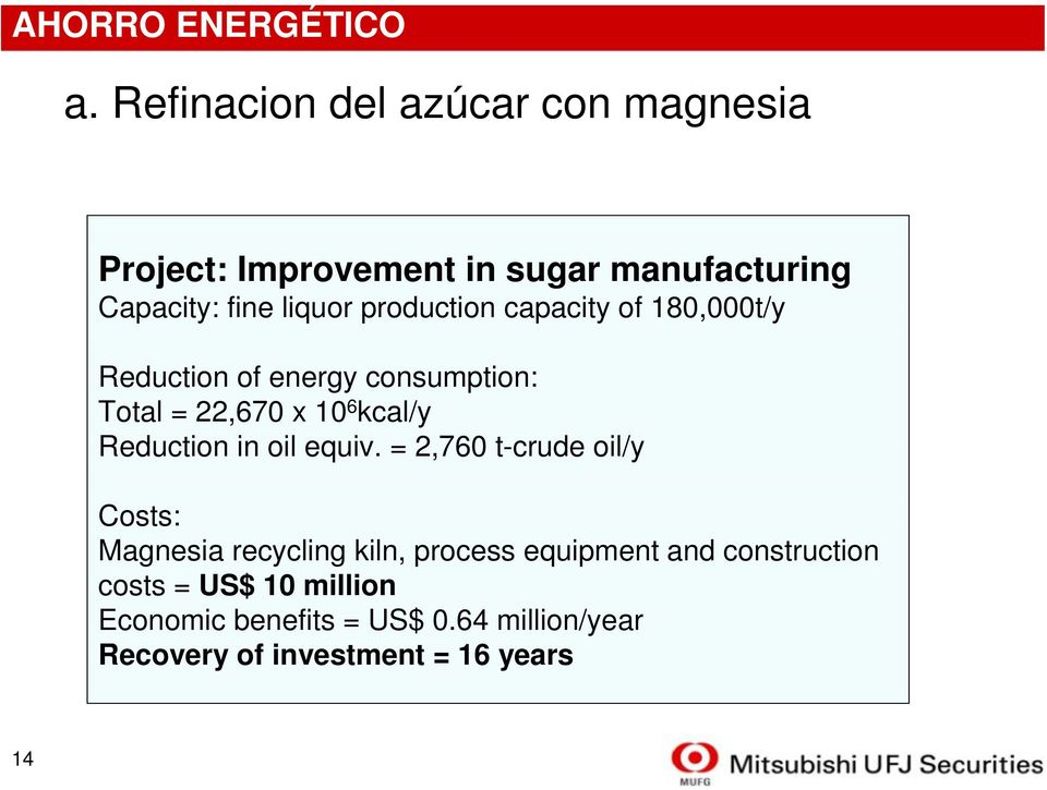 production capacity of 180,000t/y Reduction of energy consumption: Total = 22,670 x 10 6 kcal/y Reduction