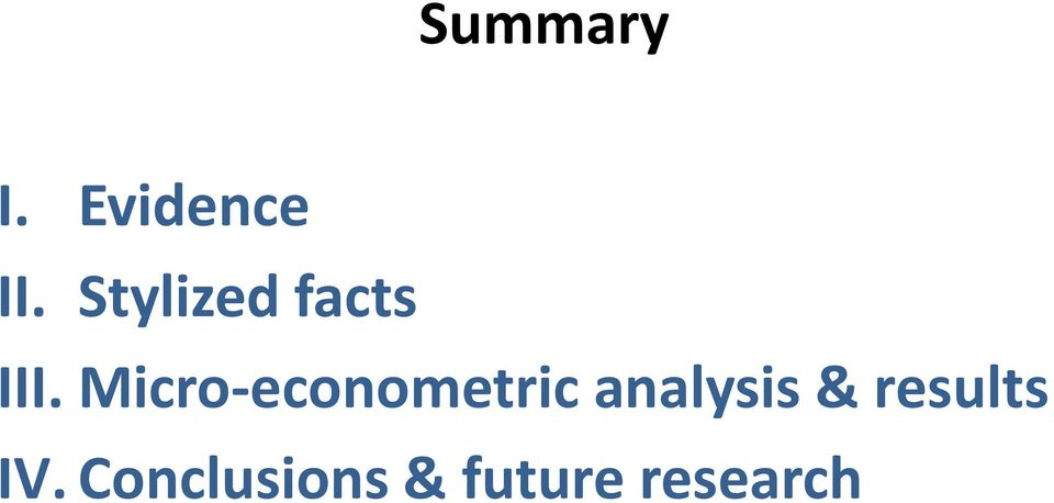 Micro-econometric analysis &