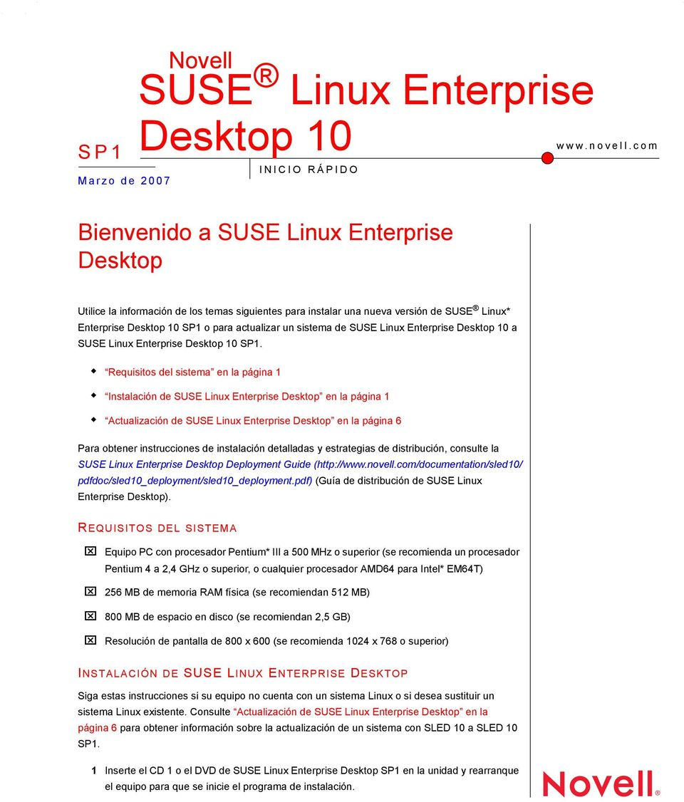 SUSE Linux Enterprise Desktop 10 a SUSE Linux Enterprise Desktop 10 SP1.