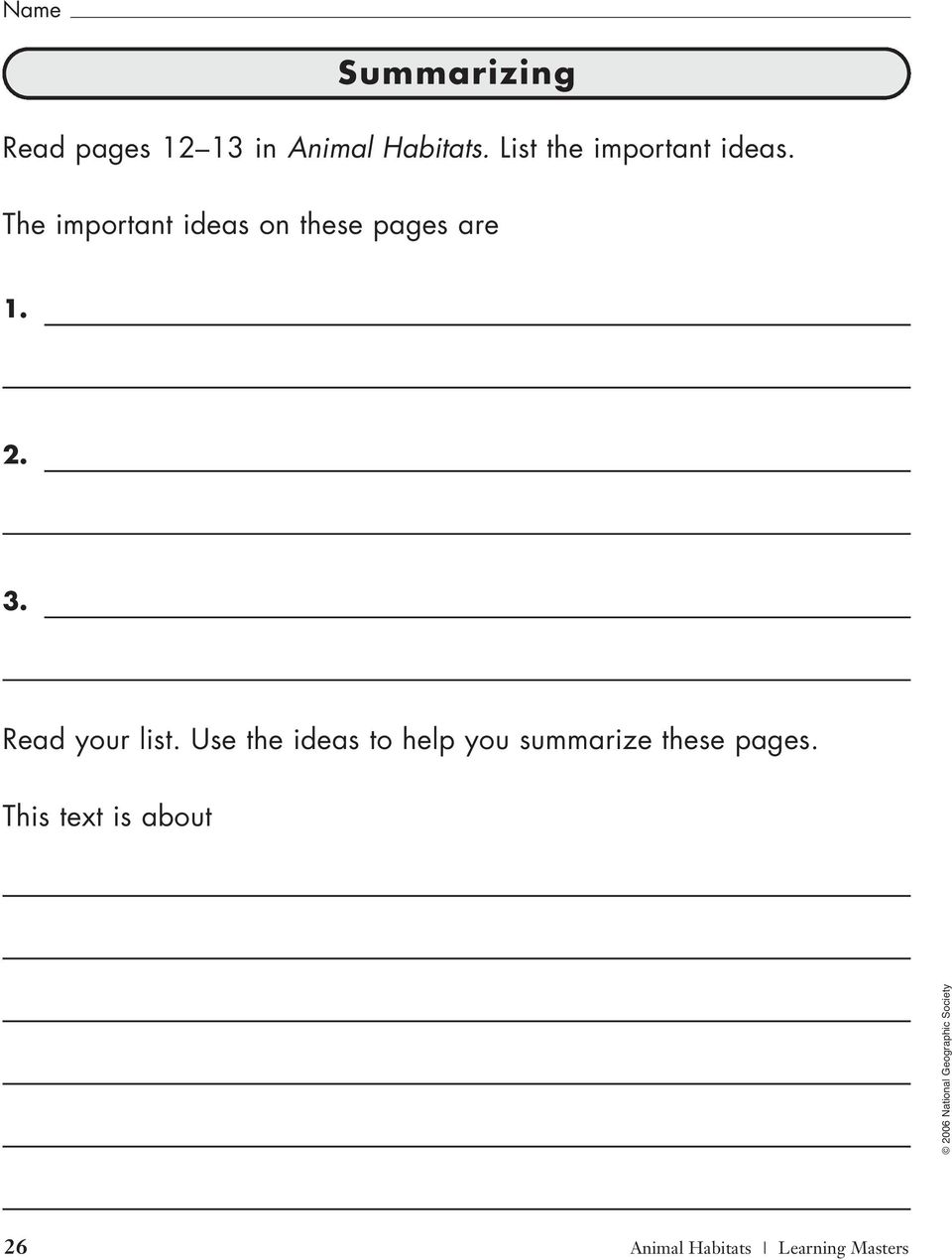 The important ideas on these pages are 1. 2. 3.