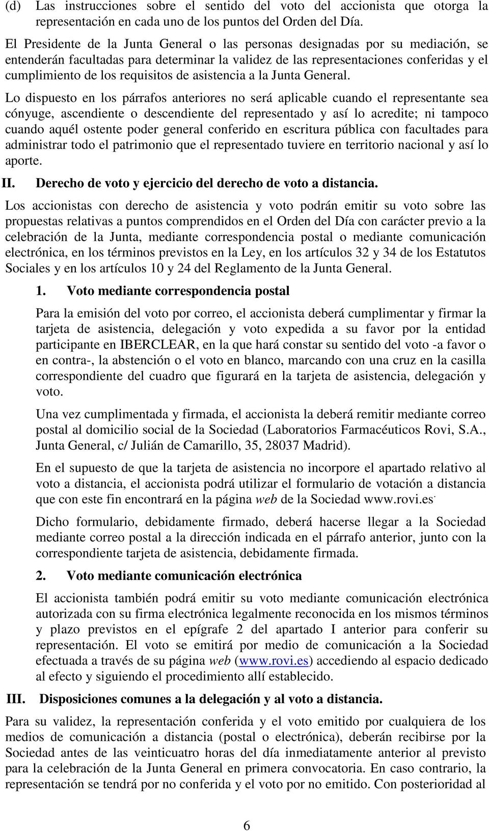 requisitos de asistencia a la Junta General.