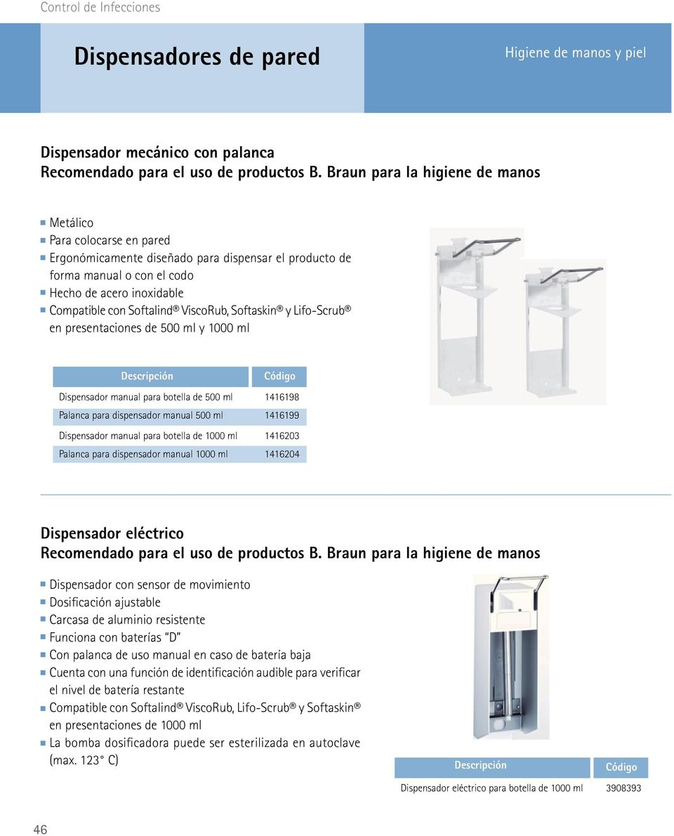 ViscoRub, Softaskin y Lifo-Scrub en presentaciones de 500 ml y 1000 ml Dispensador manual para botella de 500 ml Palanca para dispensador manual 500 ml Dispensador manual para botella de 1000 ml