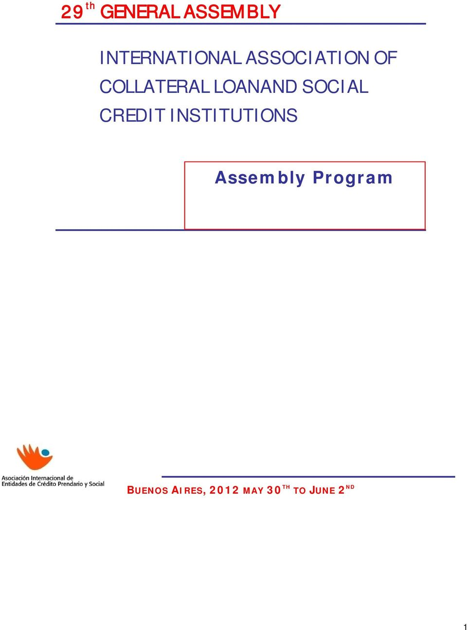 SOCIAL CREDIT INSTITUTIONS Assembly