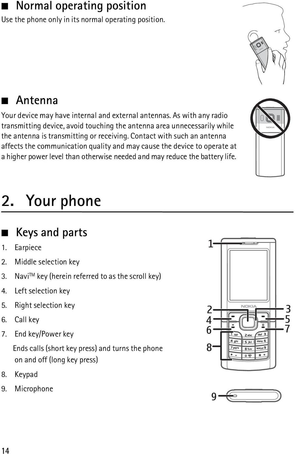 Contact with such an antenna affects the communication quality and may cause the device to operate at a higher power level than otherwise needed and may reduce the battery life. 2.