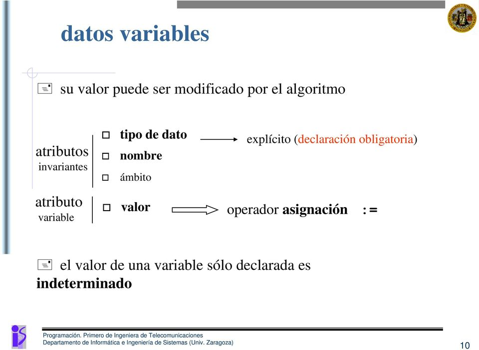 (declaración obligatoria) atributo variable valor operador