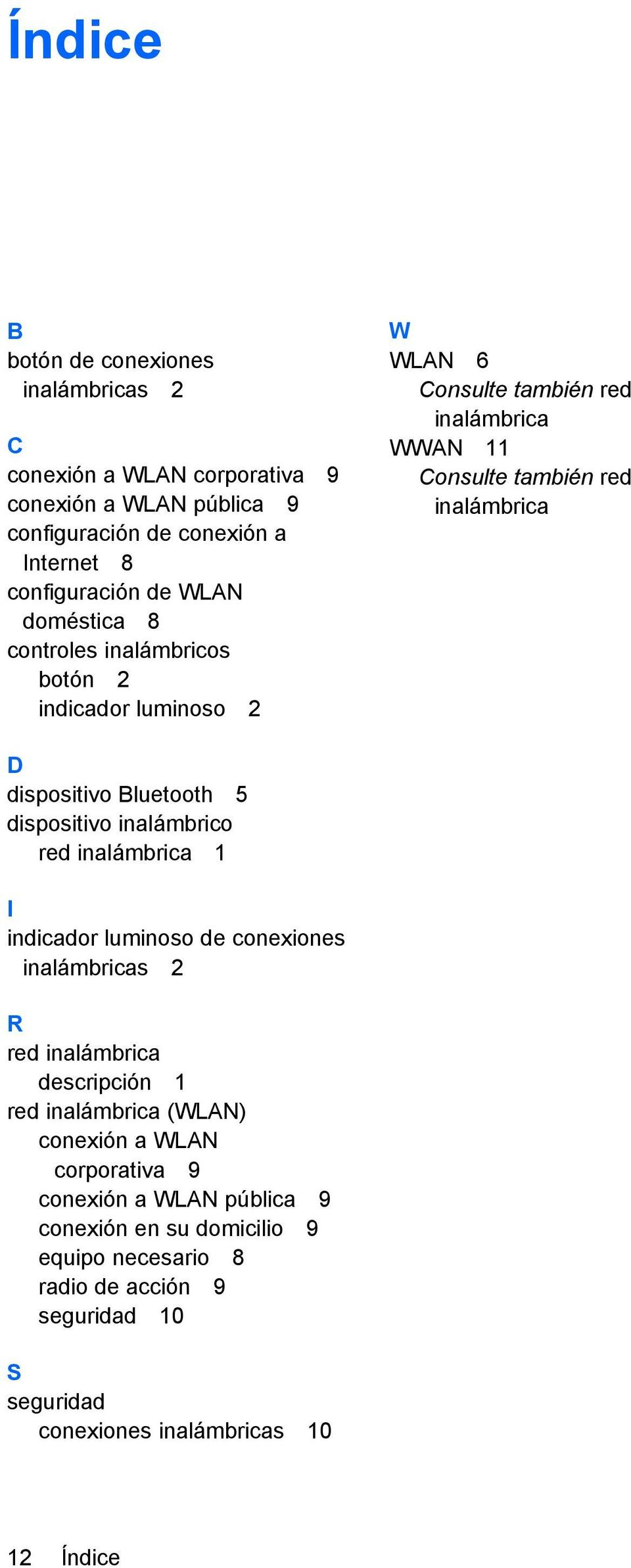 Bluetooth 5 dispositivo inalámbrico red inalámbrica 1 I indicador luminoso de conexiones inalámbricas 2 R red inalámbrica descripción 1 red inalámbrica (WLAN) conexión