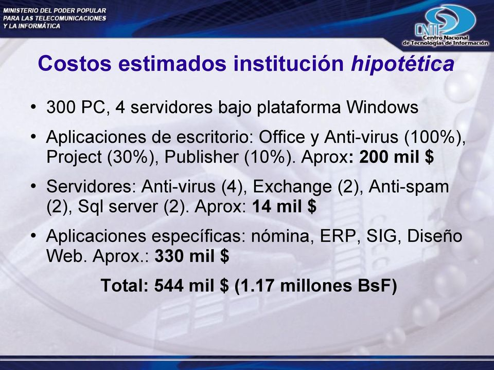 Aprox: 200 mil $ Servidores: Anti-virus (4), Exchange (2), Anti-spam (2), Sql server (2).