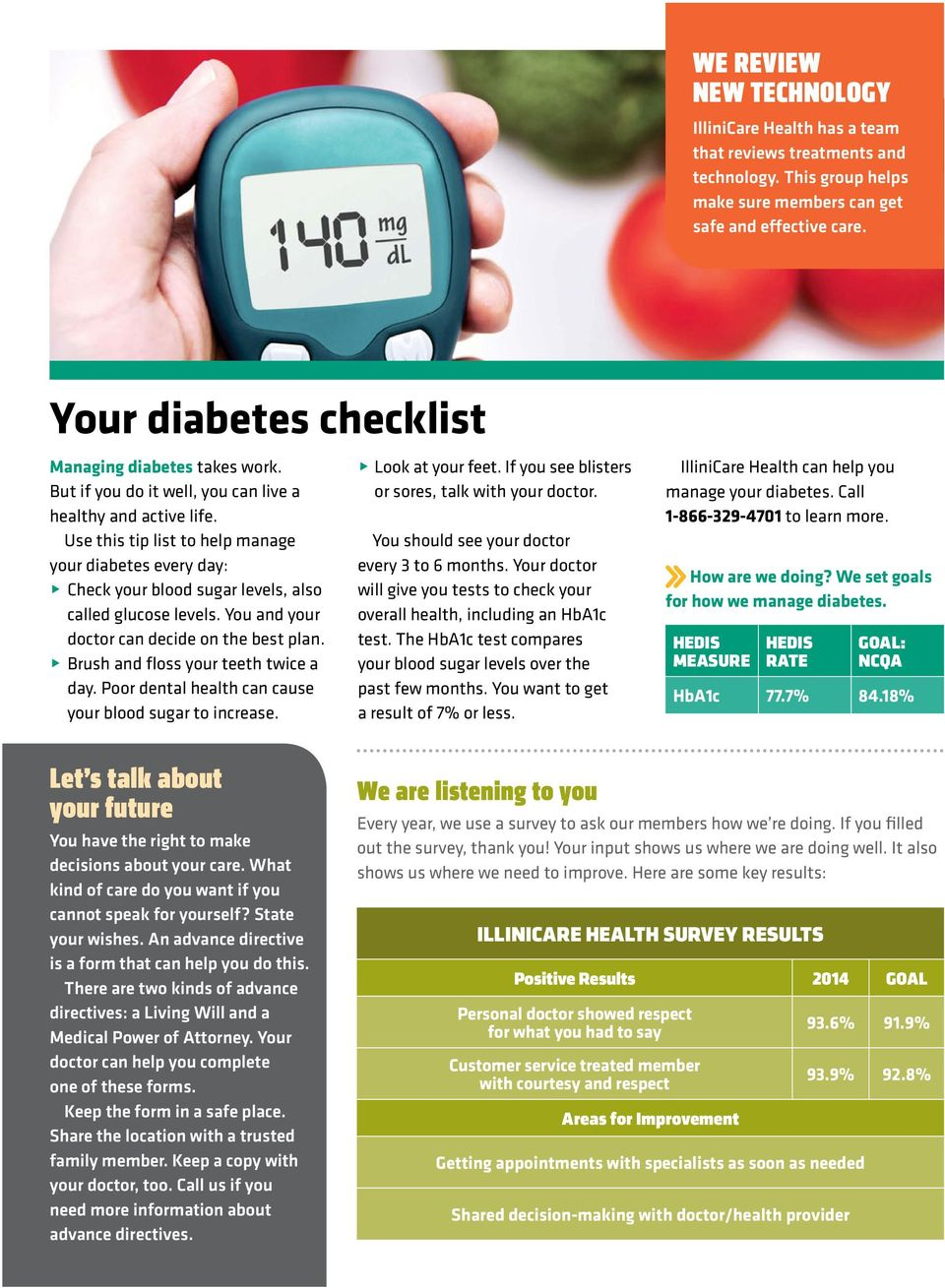 Use this tip list to help manage your diabetes every day: @ Check your blood sugar levels, also called glucose levels. You and your doctor can decide on the best plan.