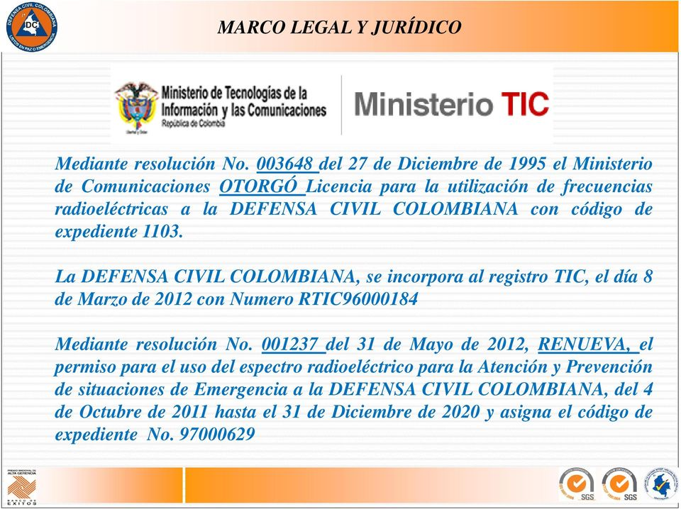con código de expediente 1103. La DEFENSA CIVIL COLOMBIANA, se incorpora al registro TIC, el día 8 de Marzo de 2012 con Numero RTIC96000184 Mediante resolución No.