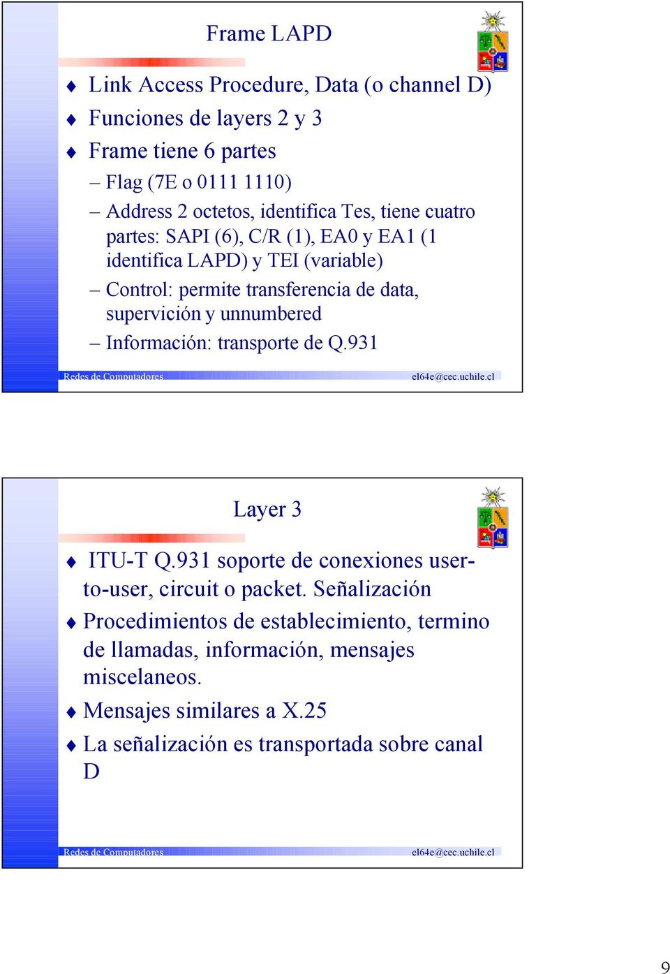 supervición y unnumbered Información: transporte de Q.931 Layer 3 ITU-T Q.931 soporte de conexiones userto-user, circuit o packet.
