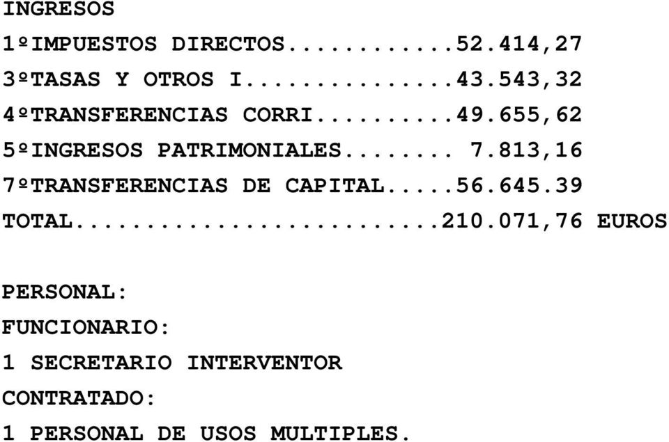 813,16 7ºTRANSFERENCIAS DE CAPITAL...56.645.39 TOTAL...210.