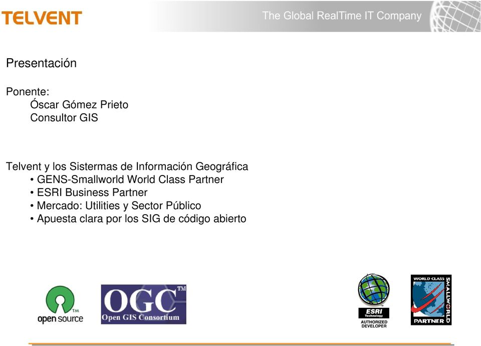 GENS-Smallworld World Class Partner ESRI Business Partner