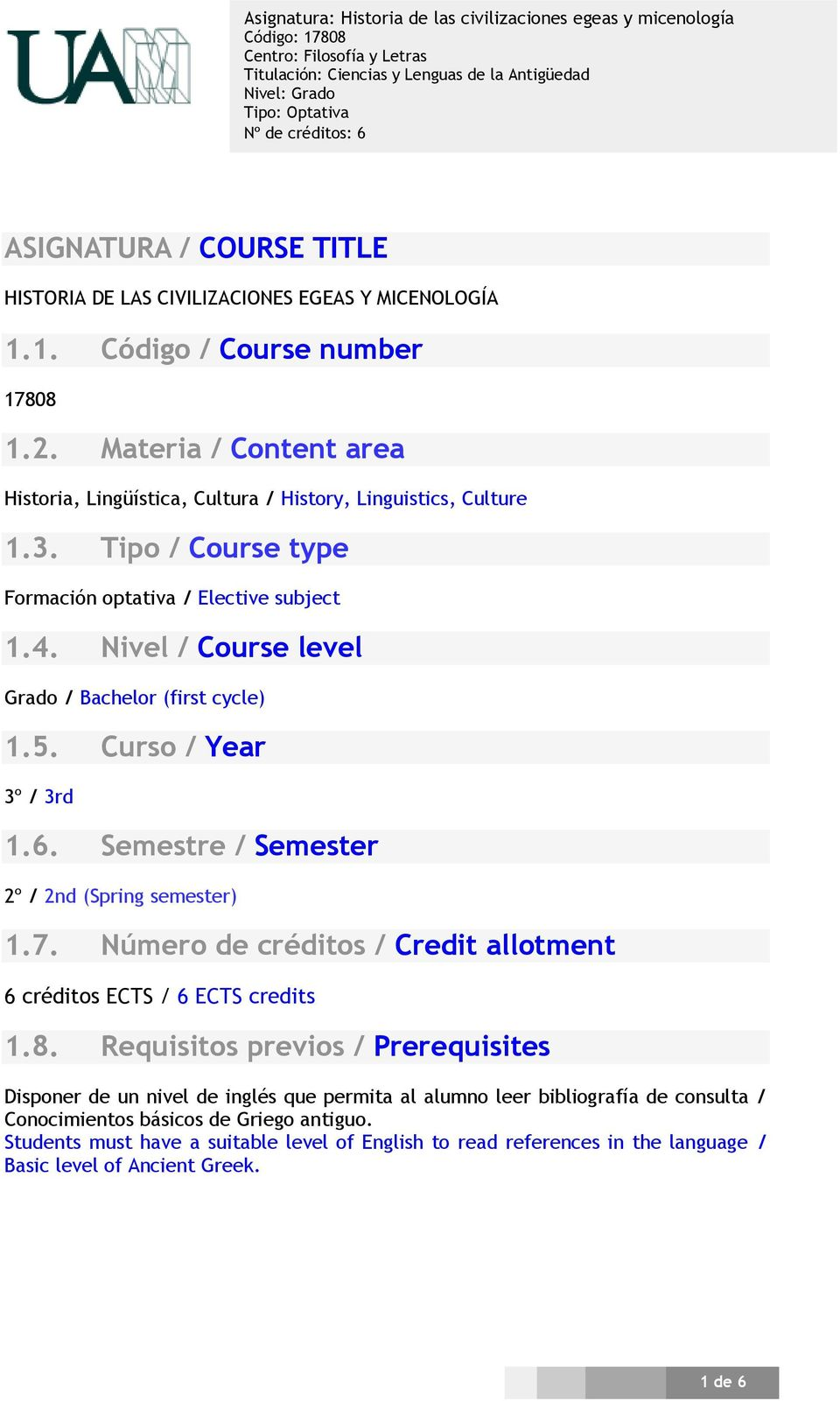 Nivel / Course level Grado / Bachelor (first cycle) 1.5. Curso / Year 3º / 3rd 1.6. Semestre / Semester 2º / 2nd (Spring semester) 1.7.