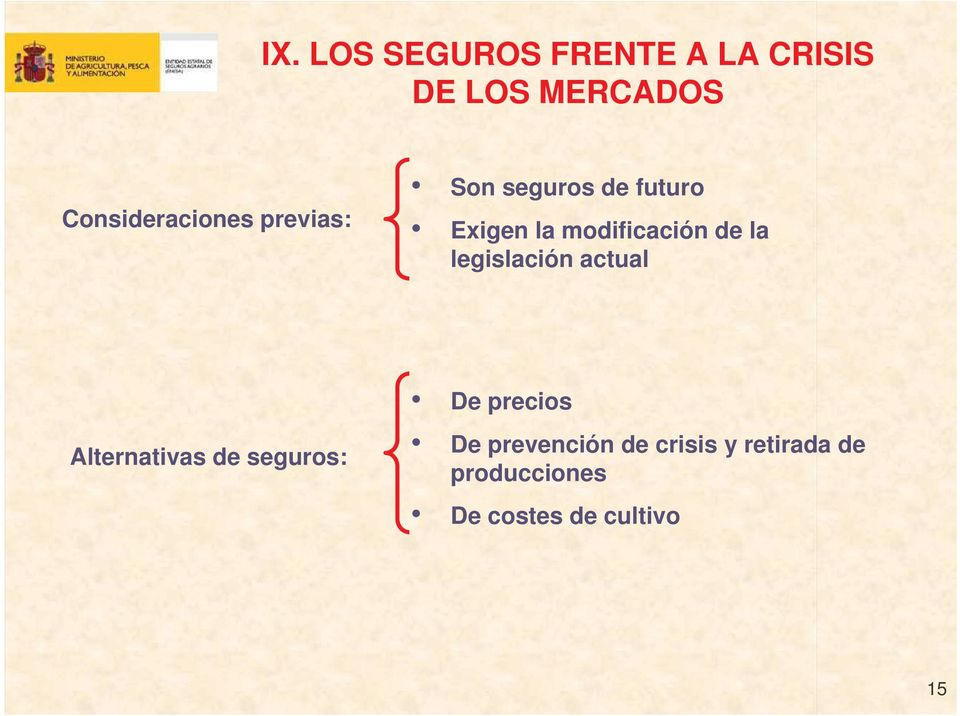 modificación de la legislación actual Alternativas de seguros: