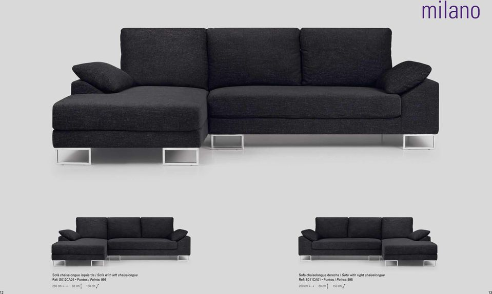 chaiselongue derecha / Sofa with right chaiselongue Ref: