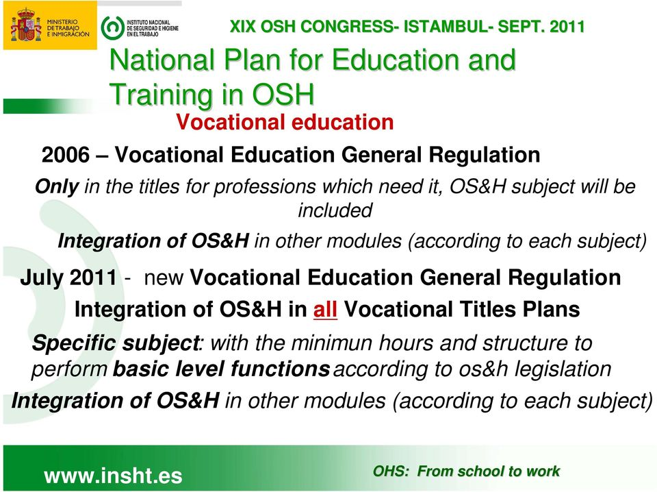 new Vocational Education General Regulation Integration of OS&H in all Vocational Titles Plans Specific subject: with the minimun hours