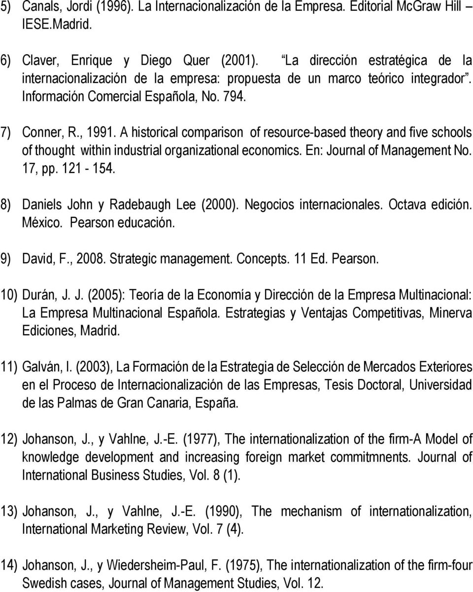A historical comparison of resource based theory and five schools of thought within industrial organizational economics. En: Journal of Management No. 17, pp. 121 154.