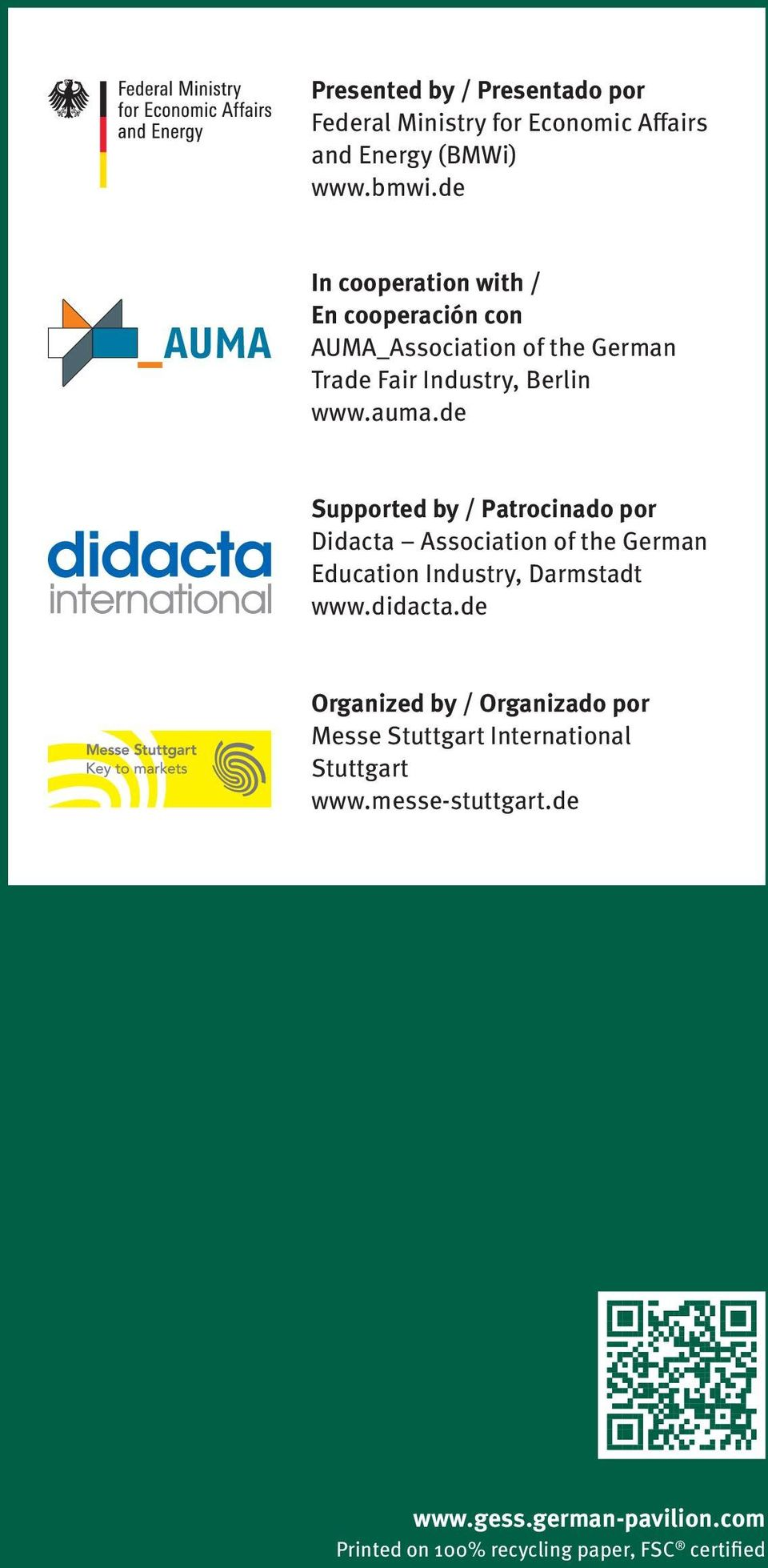 de Supported by / Patrocinado por Didacta Association of the German Education Industry, Darmstadt www.didacta.