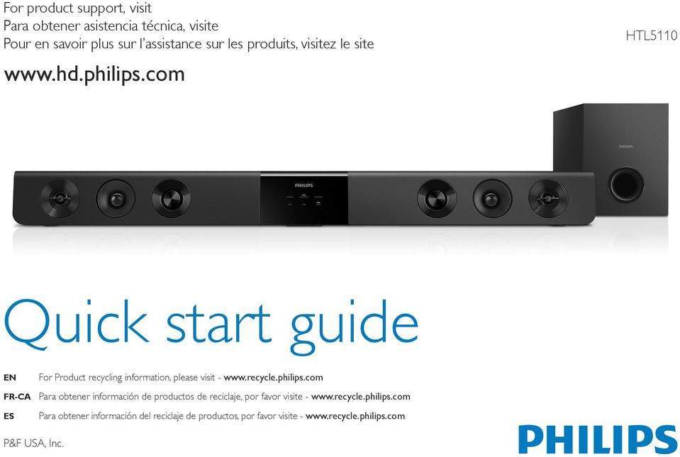 com HTL5110 Quick start guide EN For Product recycling information, please visit - www.recycle.philips.