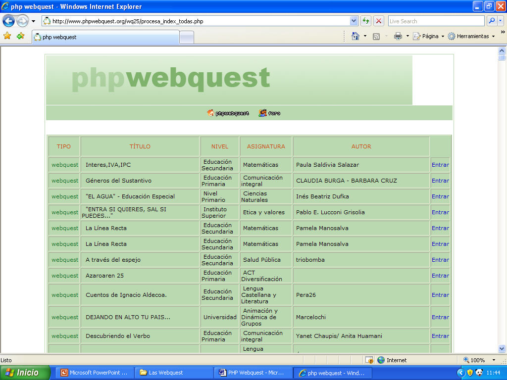 PHP WEBQUEST http://www.