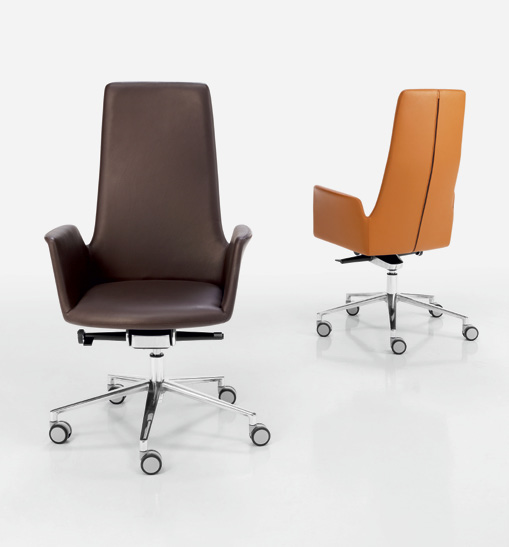 83 en ALTEA armchairs with a swivel wheel base are manufactured in three backrest heights and can be fitted with a rocking mechanism to enhance comfort.