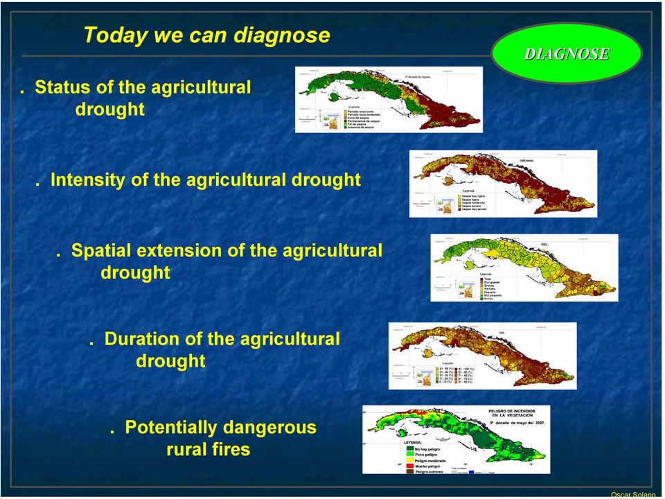 Intensity of the agricultural drought.