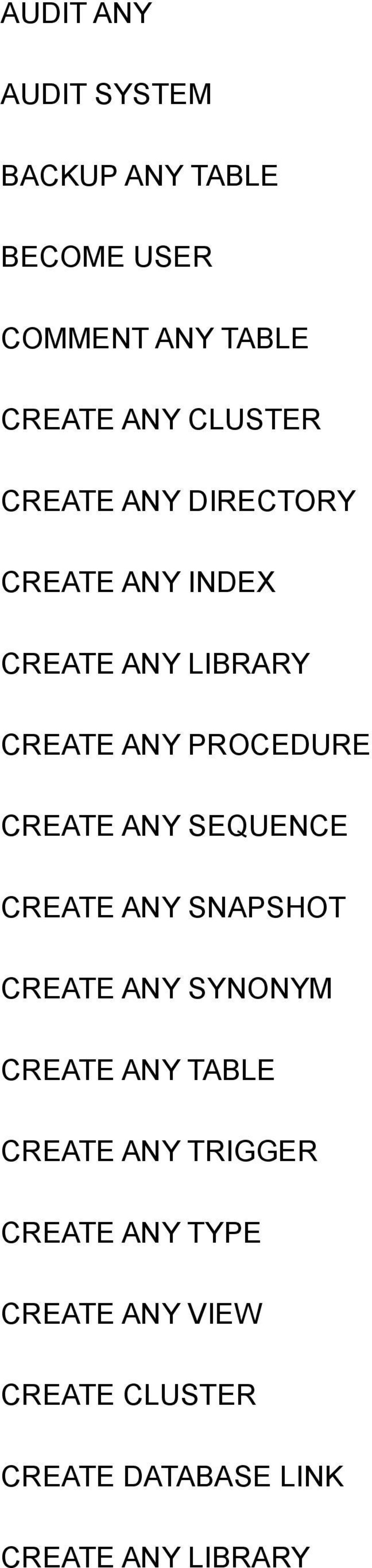 CREATE ANY SEQUENCE CREATE ANY SNAPSHOT CREATE ANY SYNONYM CREATE ANY TABLE CREATE ANY