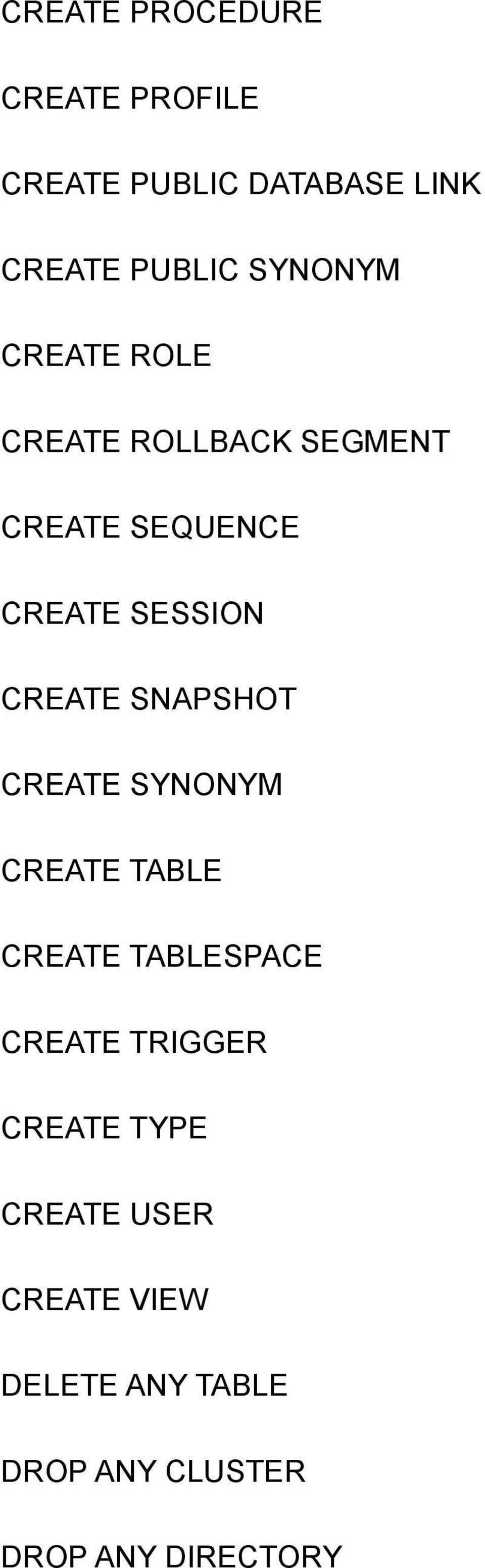 CREATE SNAPSHOT CREATE SYNONYM CREATE TABLE CREATE TABLESPACE CREATE TRIGGER