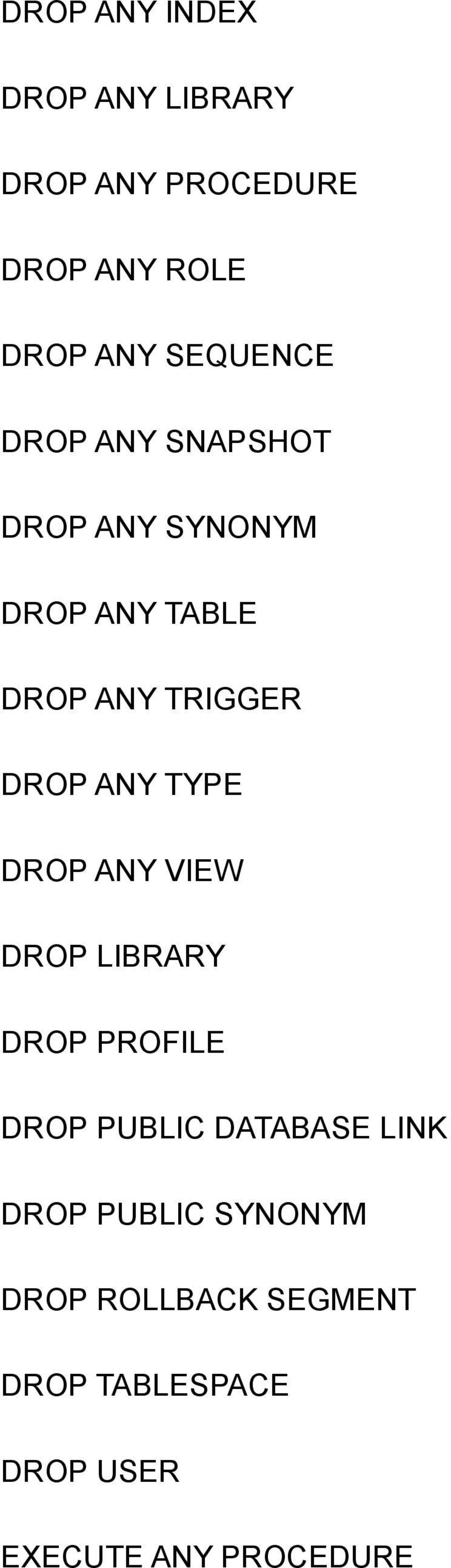 DROP ANY TYPE DROP ANY VIEW DROP LIBRARY DROP PROFILE DROP PUBLIC DATABASE LINK