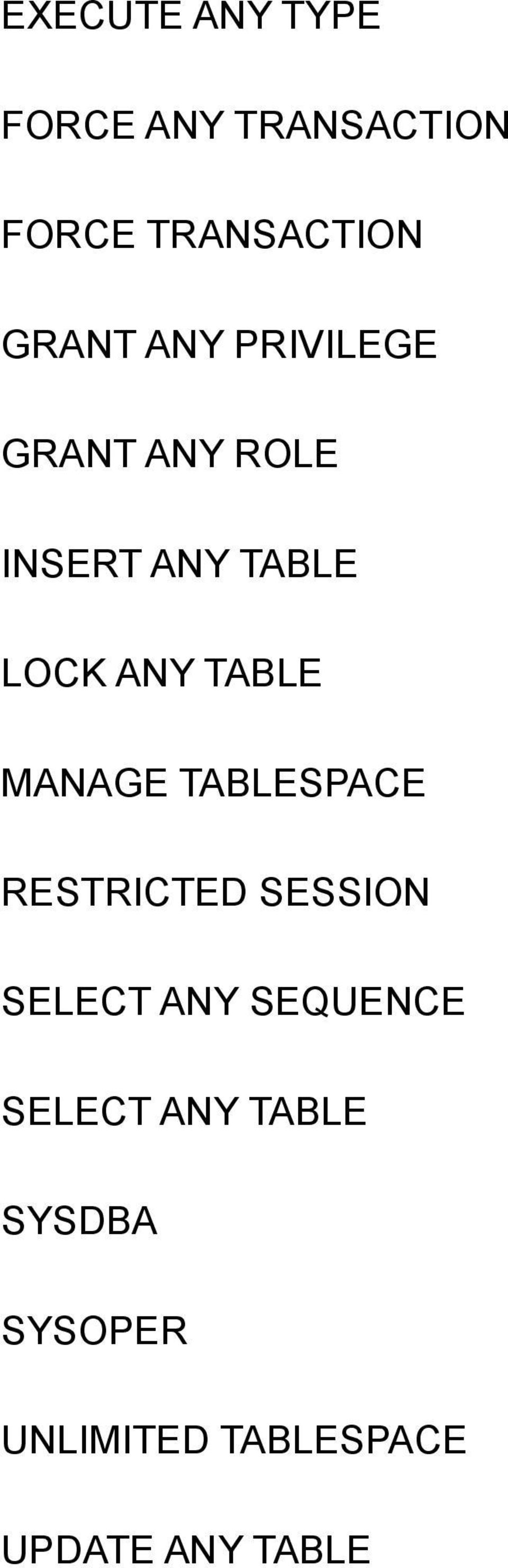 MANAGE TABLESPACE RESTRICTED SESSION SELECT ANY SEQUENCE