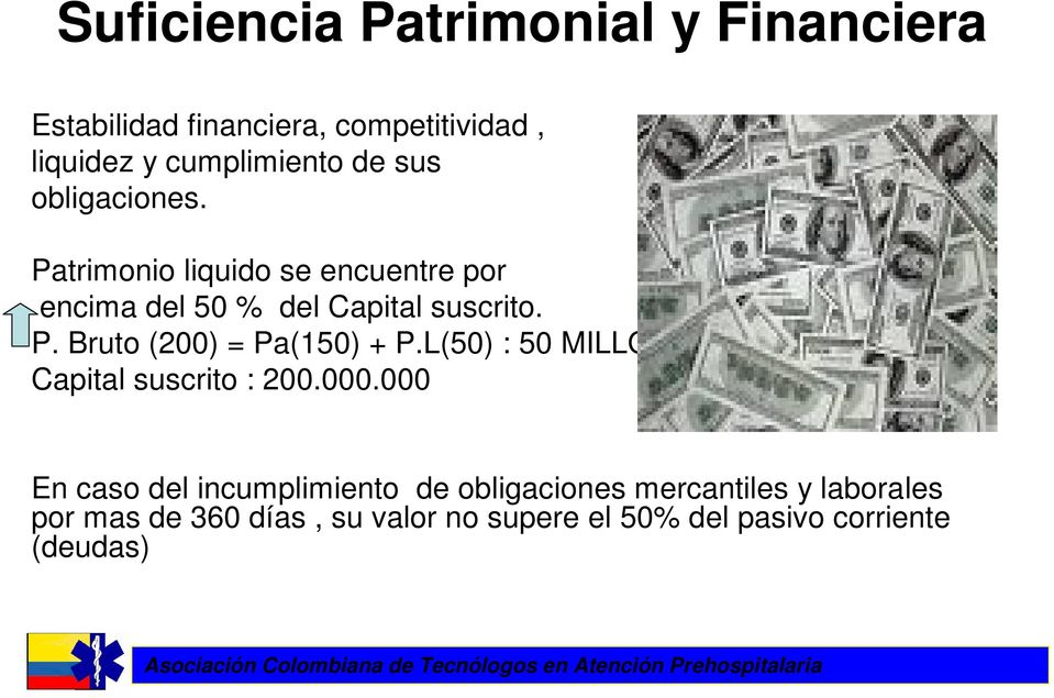 L(50) : 50 MILLON Capital suscrito : 200.000.