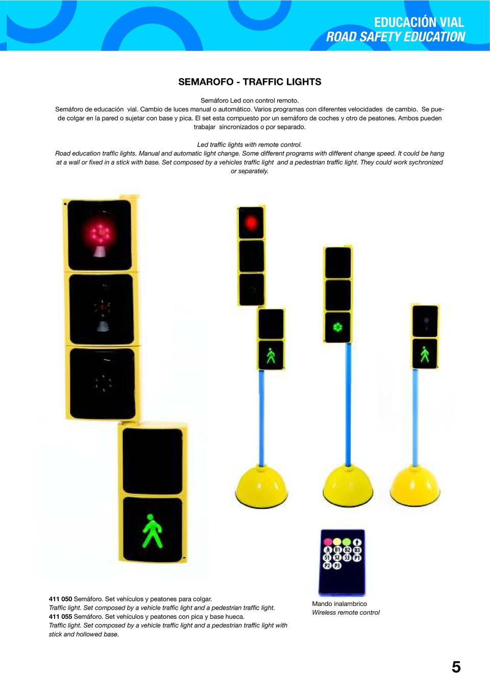 Led traffic lights with remote control. Road education traffic lights. Manual and automatic light change. Some different programs with different change speed.