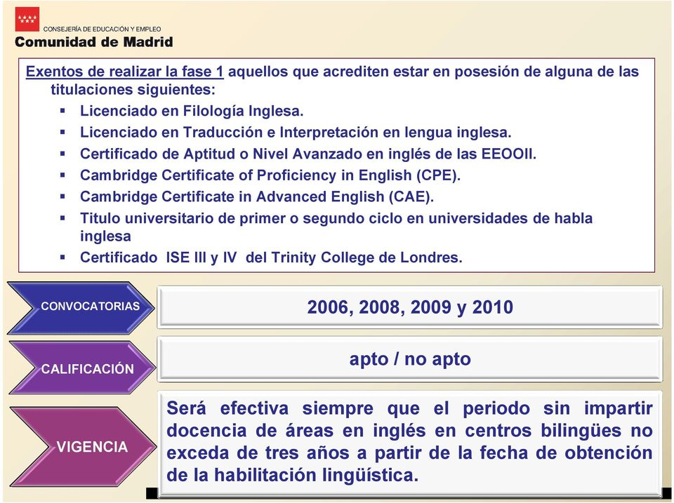 Cambridge Certificate in Advanced English (CAE). Titulo universitario de primer o segundo ciclo en universidades de habla inglesa Certificado ISE III y IV del Trinity College de Londres.