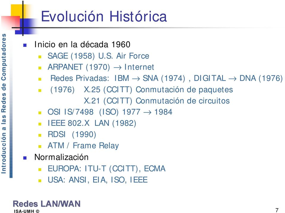 Air Force ARPANET (1970) Internet Redes Privadas: IBM SNA (1974), DIGITAL DNA (1976) (1976) X.