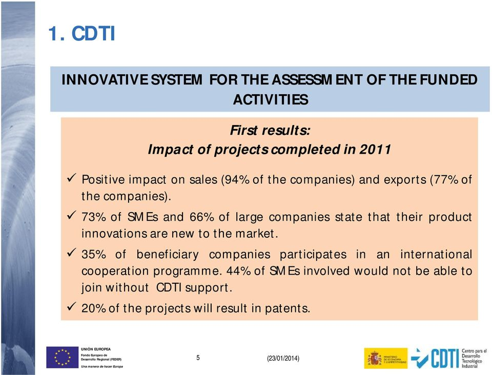 73% of SMEs and 66% of large companies state that their product innovations are new to the market.
