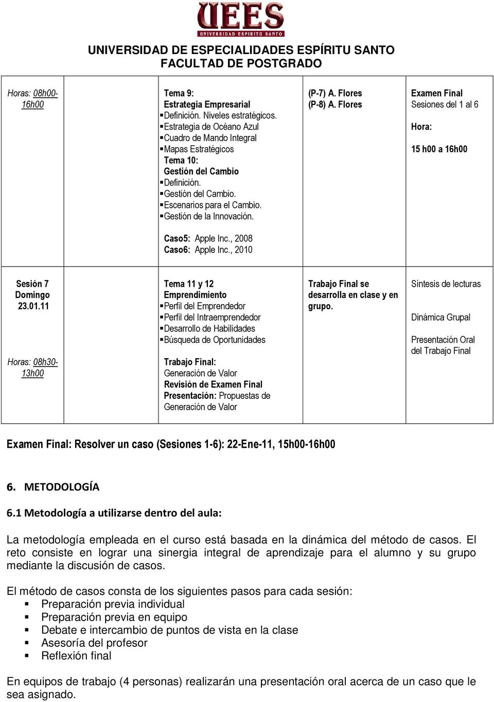 Flores (P-8) A. Flores Examen Final Sesiones del 1 al 6 Hora: 15 h00 a 16h00 Caso5: Apple Inc., 2008 Caso6: Apple Inc., 2010