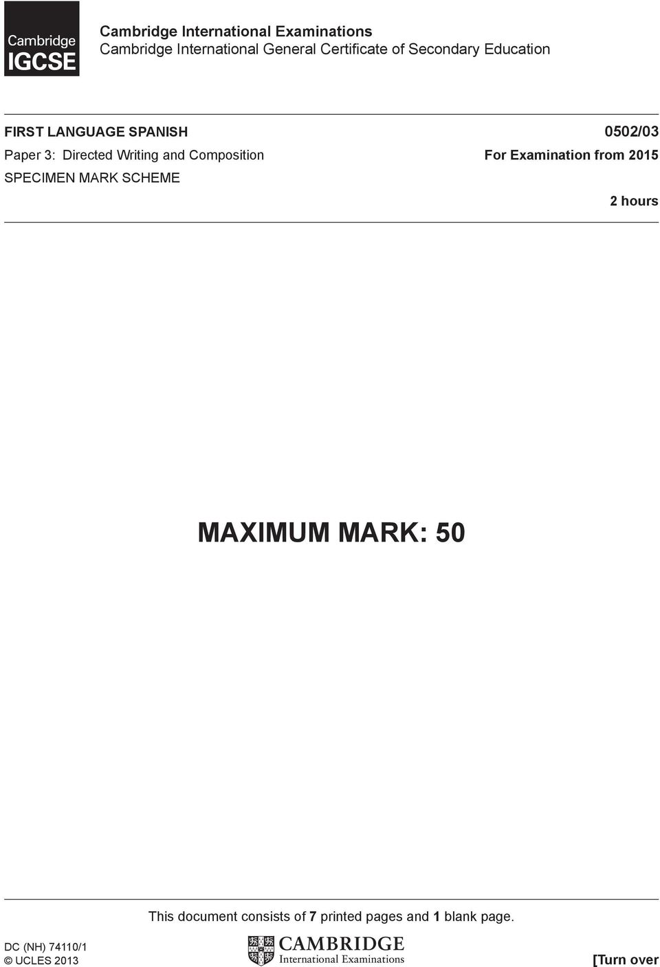 Composition For Examination from 2015 SPECIMEN MARK SCHEME 2 hours MAXIMUM MARK: 50