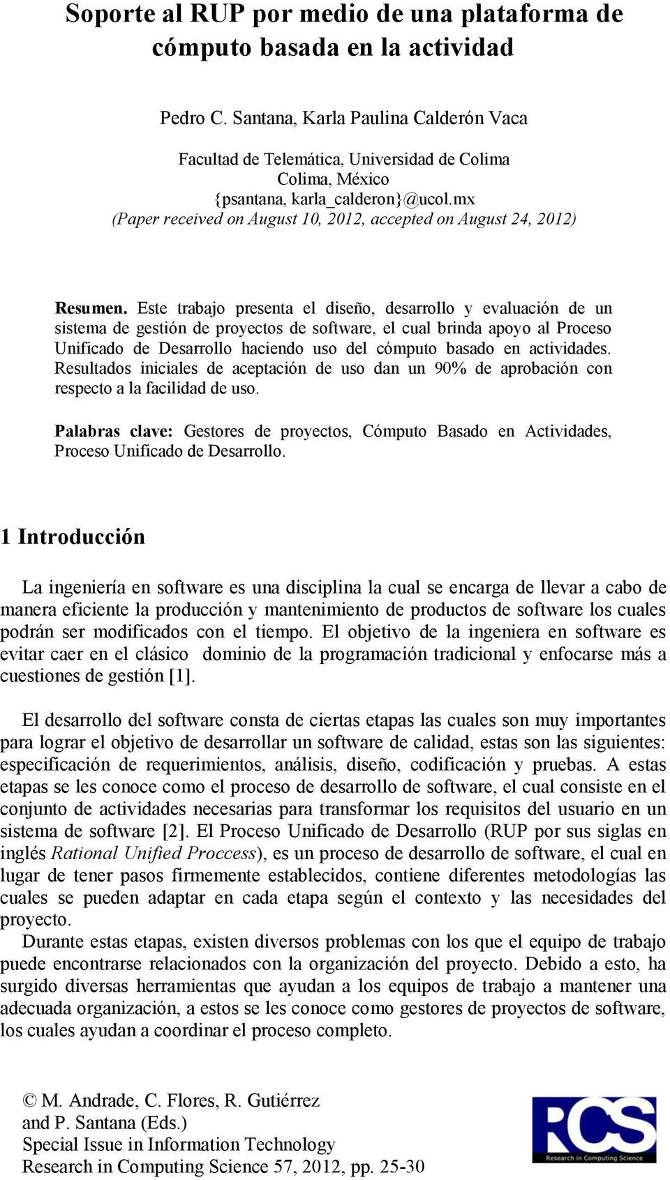 mx (Paper received on August 10, 2012, accepted on August 24, 2012) Resumen.