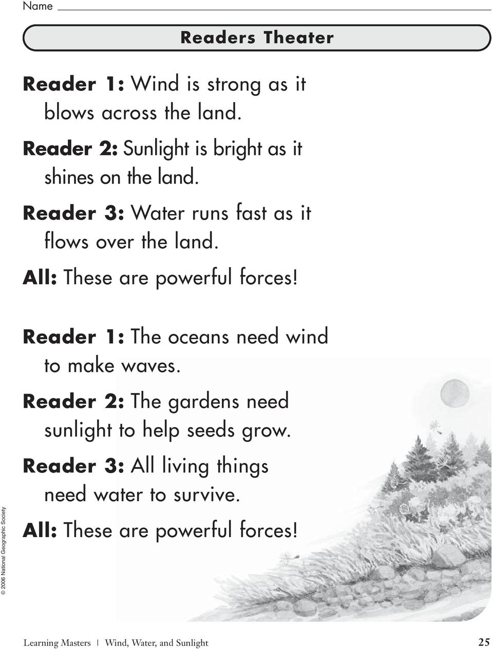 All: These are powerful forces! Reader 1: The oceans need wind to make waves.