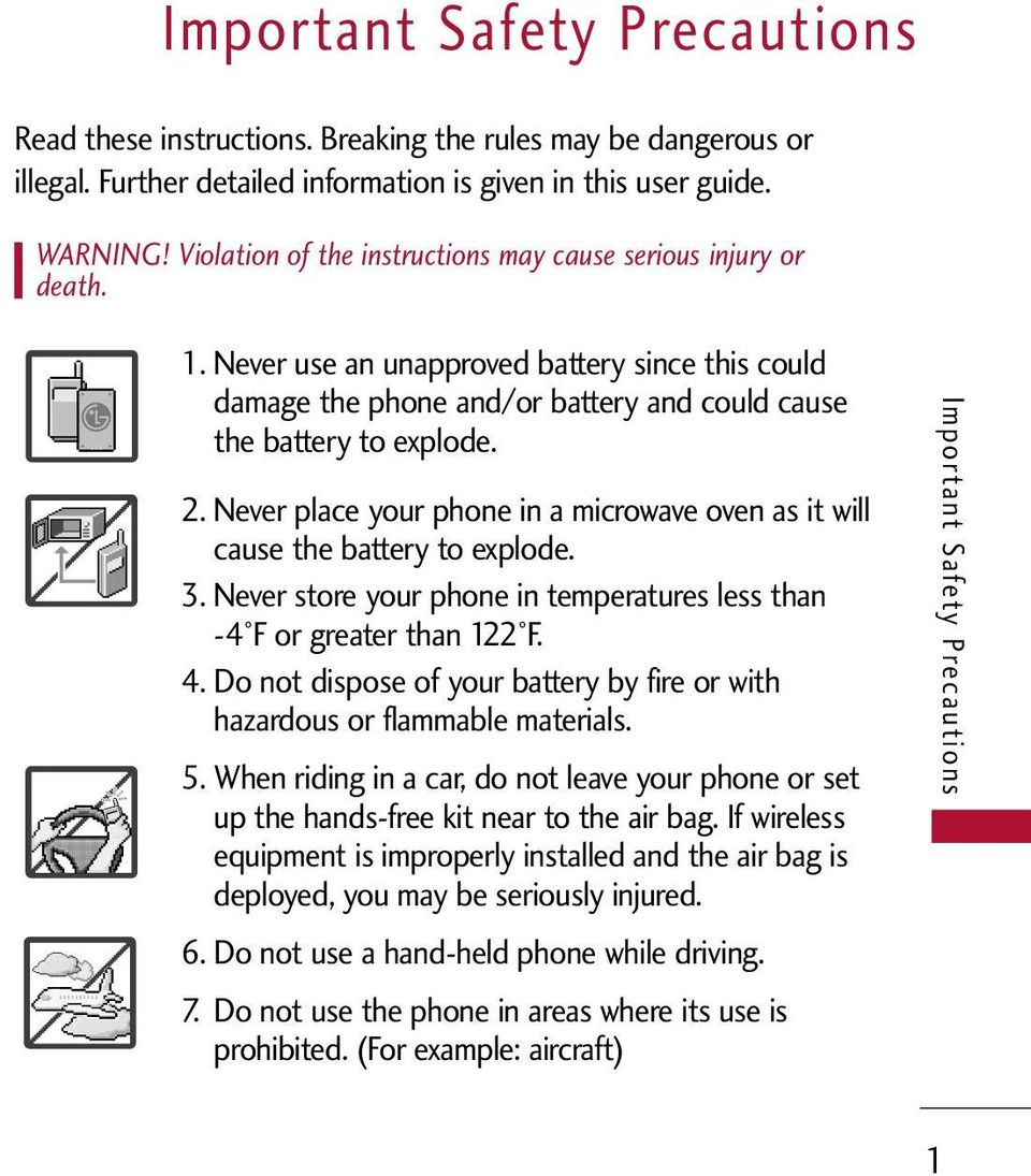 Never place your phone in a microwave oven as it will cause the battery to explode. 3. Never store your phone in temperatures less than -4 F or greater than 122 F. 4.