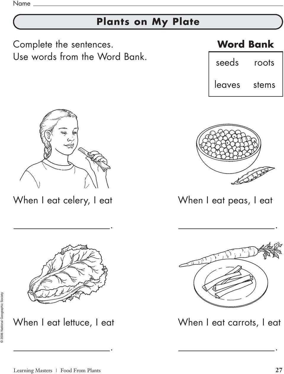 Word Bank seeds roots leaves stems When I eat celery, I eat