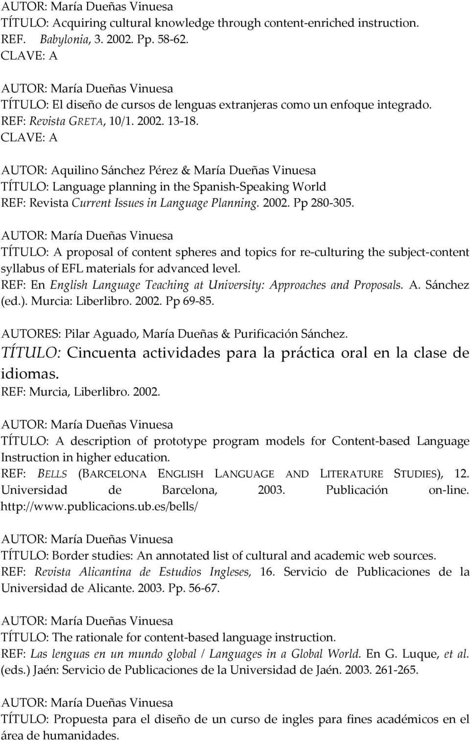 CLAVE: A AUTOR: Aquilino Sánchez Pérez & María Dueñas Vinuesa TÍTULO: Language planning in the Spanish Speaking World REF: Revista Current Issues in Language Planning. 2002. Pp 280 305.