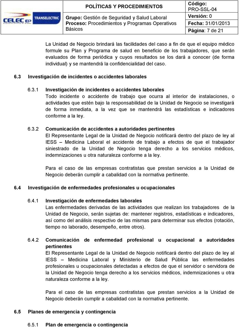 Investigación de incidentes o accidentes laborales 6.3.