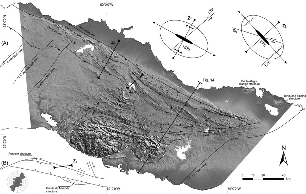 I. Cruz-Orosa et al. Figure 12. (A) Subcrop structural map of the Central Cuban Orogenic Belt with shaded relief. The location of some elements discussed in text is indicated.